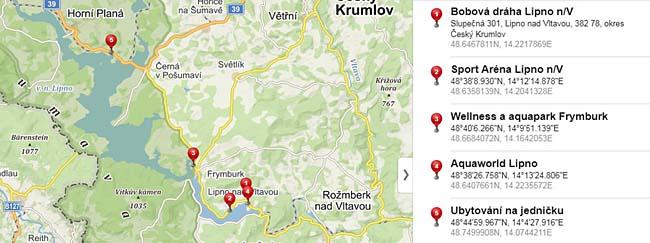 Mapka zimních aktivit na Lipně, které jsou dostupné z našeho ubytování.