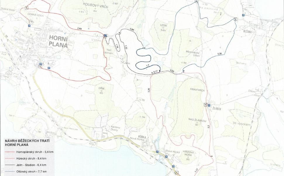 Běžecké trasy Hůrka - Horní Planá.
